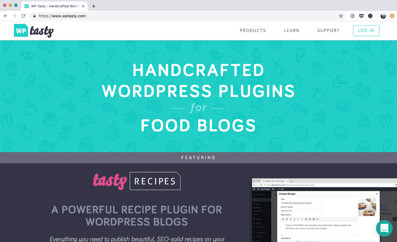 Screenshot of the WP Tasty homepage